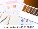 top view working desk in the... | Shutterstock . vector #493150138