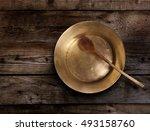 empty copper tray  wooden spoon ... | Shutterstock . vector #493158760