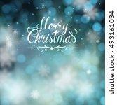 blue christmas greeting card... | Shutterstock .eps vector #493161034