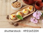 estival moon cake   chinese... | Shutterstock . vector #493165204
