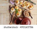 estival moon cake   chinese... | Shutterstock . vector #493165786