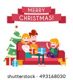 family on a sofa in christmas.... | Shutterstock .eps vector #493168030