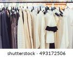 fashion cloth of women on rack  ... | Shutterstock . vector #493172506