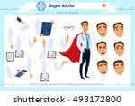 Set of super doctor presenting in various action.Pupil character for your scenes.Parts of body template for design work and animation.Face and body elements.Isolated on white background.Flat style. | Shutterstock vector #493172800