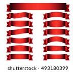 red ribbons set. satin blank... | Shutterstock .eps vector #493180399