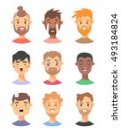 set of male emoji characters.... | Shutterstock .eps vector #493184824