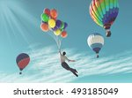 the young man in suit flying...   Shutterstock . vector #493185049