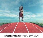 a dinosaur running on a running ... | Shutterstock . vector #493194664