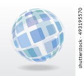 blue abstract globe sphere of... | Shutterstock .eps vector #493195570