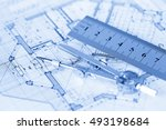 architecture blueprint    house ... | Shutterstock . vector #493198684