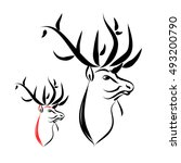 deer head with large horns....   Shutterstock .eps vector #493200790