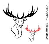 deer head with large horns....   Shutterstock .eps vector #493200814