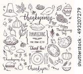 thanksgiving traditional... | Shutterstock .eps vector #493207279