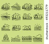 farming fields line icons vector | Shutterstock .eps vector #493211779