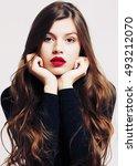vogue style portrait of... | Shutterstock . vector #493212070