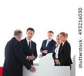 business people team assembling ... | Shutterstock . vector #493216030