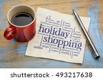 holiday shopping word cloud  ... | Shutterstock . vector #493217638