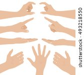 collage of woman hands on white ... | Shutterstock .eps vector #493218550