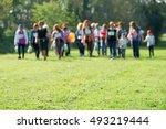 line of unrecognizable people...   Shutterstock . vector #493219444