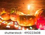 halloween pumpkin head jack... | Shutterstock . vector #493223608