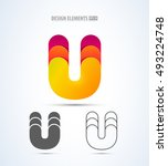 Vector Abstract Letter U Logo...