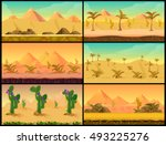 cartoon nature sand desert... | Shutterstock .eps vector #493225276