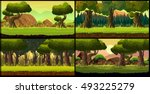 forest game background vector...