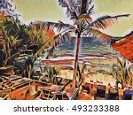 tropic resort landscape with... | Shutterstock . vector #493233388