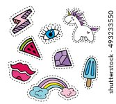 fashion patch badges with... | Shutterstock .eps vector #493233550