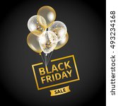 balloons black friday. red gold ... | Shutterstock .eps vector #493234168