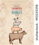 farm shop vintage poster retro... | Shutterstock .eps vector #493235398