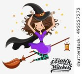 little witch. halloween witch.... | Shutterstock .eps vector #493237273