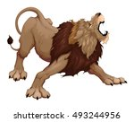Angry Lion Is Roaring. Vector...