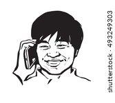 happy asian man talking by... | Shutterstock .eps vector #493249303