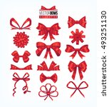 set of red bows. vector... | Shutterstock .eps vector #493251130