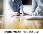 business people meeting to... | Shutterstock . vector #493255810