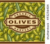 retro olive harvest label.... | Shutterstock .eps vector #493256404
