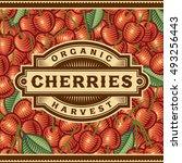 retro cherry harvest label....   Shutterstock .eps vector #493256443