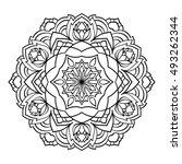 mandala. black and white... | Shutterstock .eps vector #493262344