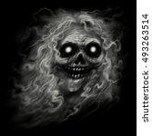 ghost skull. smiling ghost... | Shutterstock . vector #493263514