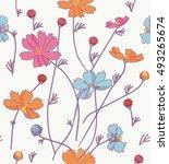 cosmos flowers orange  blue ... | Shutterstock .eps vector #493265674