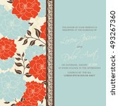 invitation card with floral... | Shutterstock .eps vector #493267360