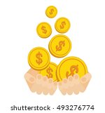 hands hold flow of gold coins.... | Shutterstock .eps vector #493276774