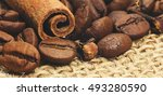 roasted coffee beans with... | Shutterstock . vector #493280590