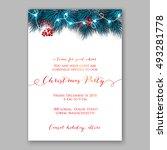 christmas party invitation... | Shutterstock .eps vector #493281778