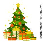 christmas tree with gifts ... | Shutterstock .eps vector #493282894