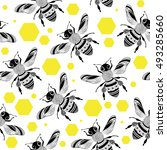 seamless pattern with bees on... | Shutterstock .eps vector #493285660