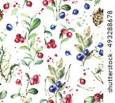 watercolor pattern  forest... | Shutterstock . vector #493288678