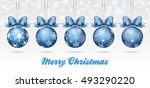christmas bauble on a snowflake ... | Shutterstock .eps vector #493290220