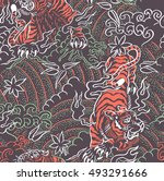 Angry Tiger Seamless Pattern